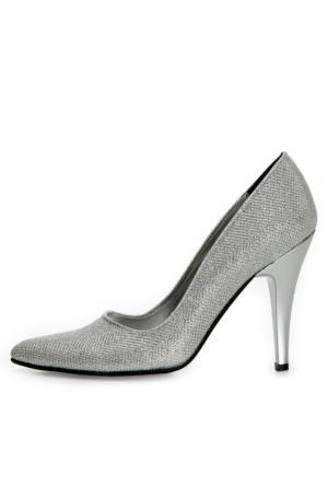 EsMODA Ma-007 Gümüş Simli Klasik Topuklu Ayakkabı