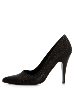 EsMODA Ma-007 Siyah Simli Klasik Topuklu Ayakkabı