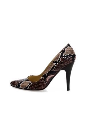 EsMODA Ma-007 Kahve Yılan Klasik Topuklu Ayakkabı