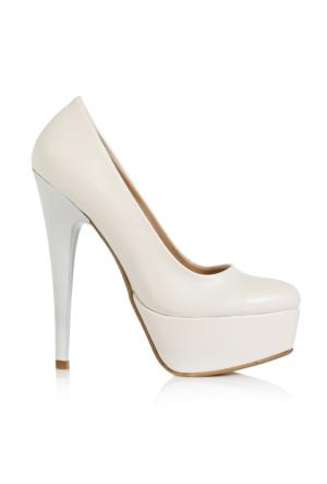 EsMODA Ma-008 Beyaz Deri Platform Topuklu Ayakkabı