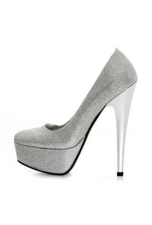 EsMODA Ma-008 Gümüş Simli Platform Topuklu Ayakkabı