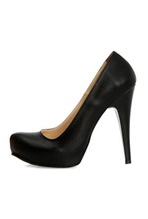 EsMODA Ma-014 Siyah Deri Platform Topuklu Ayakkabı