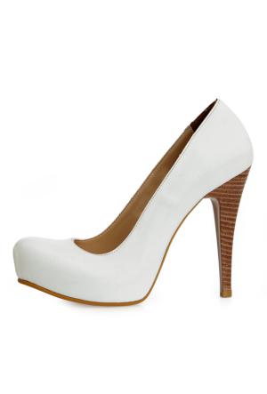 EsMODA Ma-014 Beyaz Deri Platform Topuklu Ayakkabı
