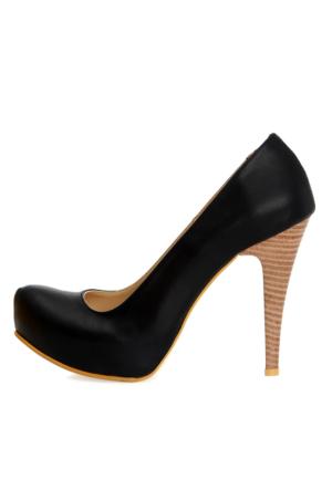 EsMODA Ma-014 Lacivert Deri Platform Topuklu Ayakkabı