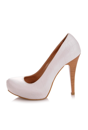 EsMODA Ma-014 Beyaz Kroko Platform Topuklu Ayakkabı