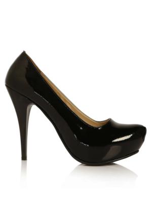 EsMODA Ma-014 Siyah Rugan Platform Topuklu Ayakkabı