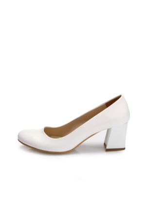 EsMODA Ma-016 Beyaz Deri Kısa Kalın Topuklu Ayakkabı