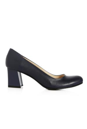 EsMODA Ma-016 Lacivert Deri Kısa Kalın Topuklu Ayakkabı