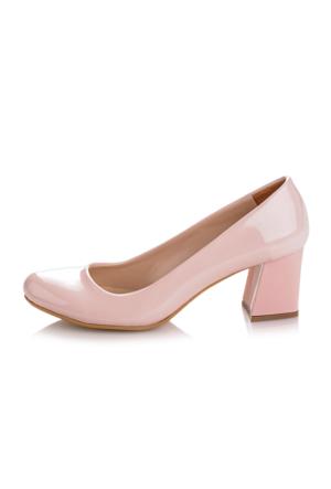 EsMODA Ma-016 Pudra Rugan Kısa Kalın Topuklu Ayakkabı