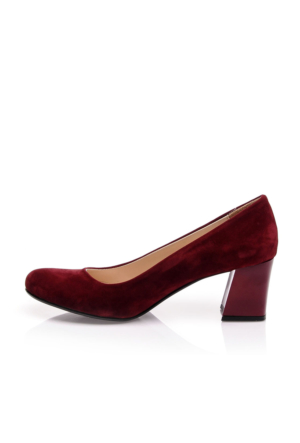 EsMODA Ma-016 Bordo Süet Kısa Kalın Topuklu Ayakkabı