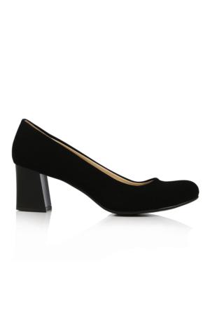 EsMODA Ma-016 Siyah Süet Kısa Kalın Topuklu Ayakkabı
