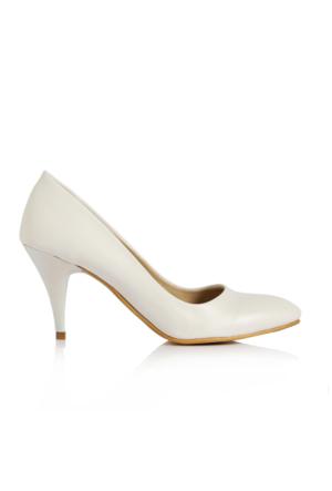 EsMODA Ma-017 Beyaz Deri Kısa Topuklu Stiletto