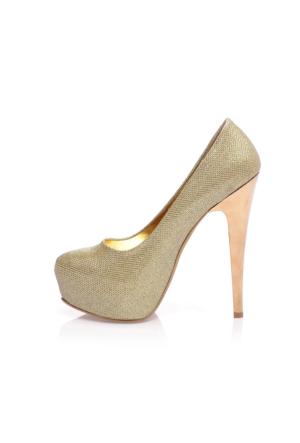 EsMODA Ma-019 Altın Simli Platform Topuklu Ayakkabı