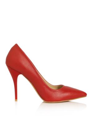 EsMODA Ma-021 Kırmızı Deri Klasik Topuklu Stiletto