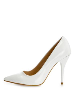 EsMODA Ma-021 Beyaz Rugan Klasik Topuklu Stiletto