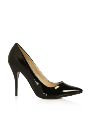 EsMODA Ma-021 Siyah Rugan Klasik Topuklu Stiletto