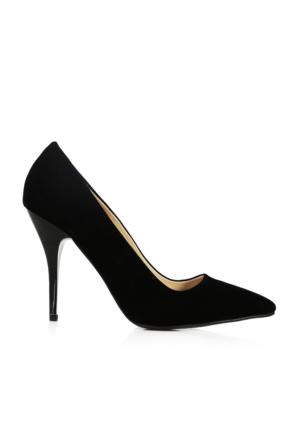 EsMODA Ma-021 Siyah Süet Klasik Topuklu Stiletto
