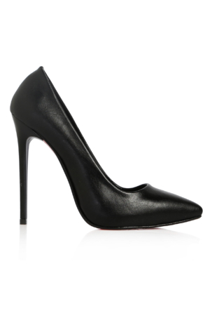 EsMODA Ma-022 Siyah Deri Klasik Topuklu Stiletto