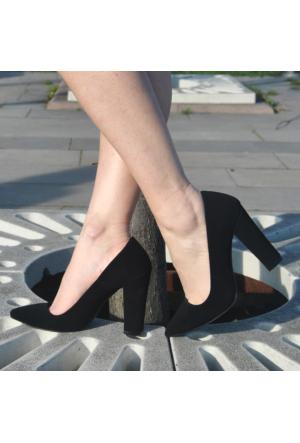 EsMODA Ma-023 Siyah Süet Kalın Topuklu Stiletto