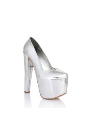 EsMODA Ms-6081 Gümüş Ayna Kadın Platform Topuklu Ayakkabı