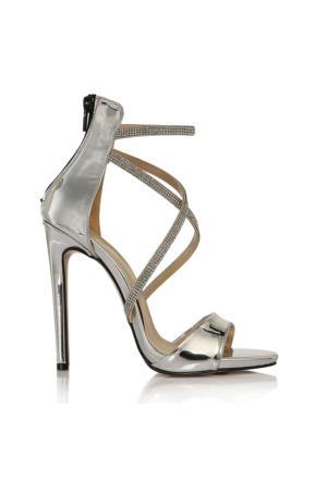 EsMODA Vd-1128 Gümüş Ayna Kadın Taşlı Topuklu Ayakkabı