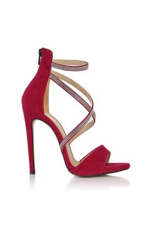 EsMODA Vd-1128 Fuşya Süet Kadın Taşlı Topuklu Ayakkabı