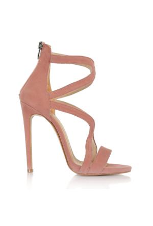 EsMODA Vd-1147 Pudra Süet Kadın Topuklu Ayakkabı