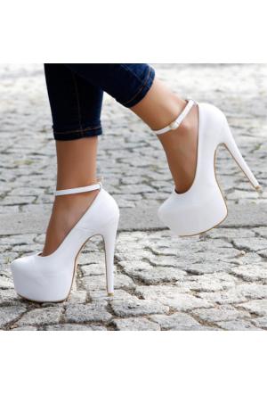 EsMODA Vd-8012 Beyaz Deri Bilekten Bağlı Platformlu Ayakkabı