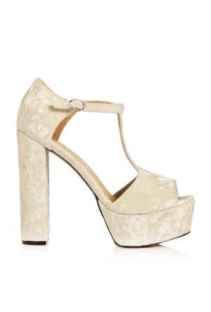 EsMODA Vd-8070 Beyaz Kadife Kadın Platform Topuklu Ayakkabı