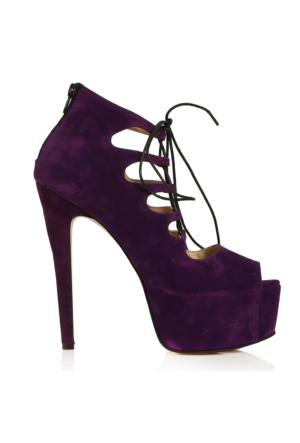 EsMODA Vd-8074 Mor Süet Kadın Bağcıklı Platform Ayakkabı
