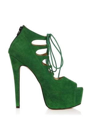 EsMODA Vd-8074 Yeşil Süet Kadın Bağcıklı Platform Ayakkabı