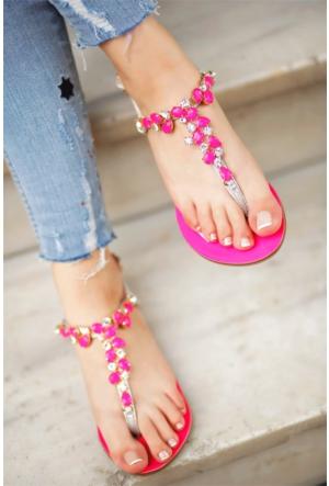 İnce Topuk Kadın Taşlı Sandalet 7Yaza0336962