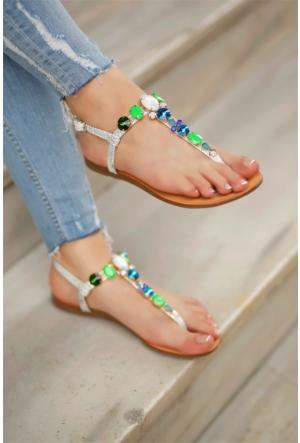 İnce Topuk Kadın Taşlı Sandalet 7Yaza0341952