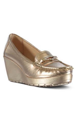 Marjin Nehal Dolgu Topuk Ayakkabı Pudra Altın
