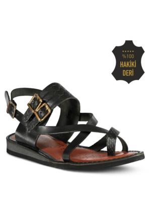 Marjin Ade Düz Sandalet Siyah