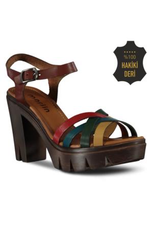 Marjin Eviz Topuklu Deri Sandalet Renkli