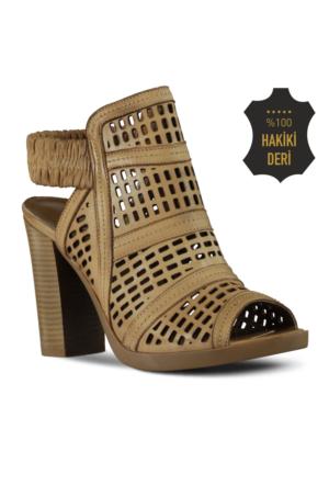 Marjin Gisa Topuklu Deri Ayakkabı Vizon