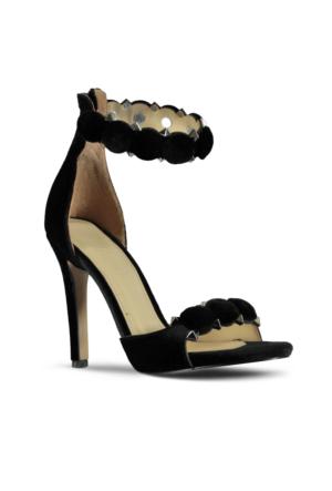 Marjin Male Topuklu Abiye Ayakkabı Siyah Süet