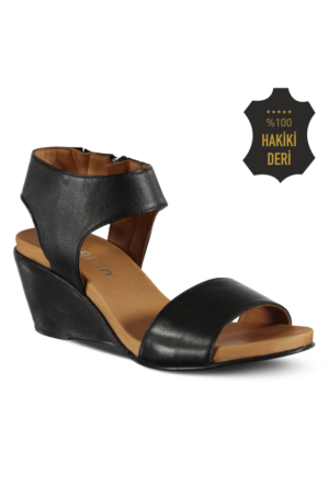 Marjin Ahsin Deri Dolgu Sandalet Siyah