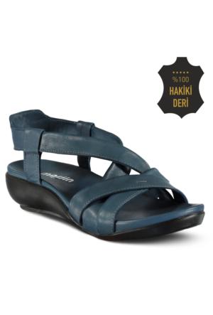 Marjin Menge Dolgu Topuk Deri Sandalet Mavi