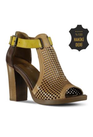 Marjin Macu Topuklu Deri Ayakkabı Vizon