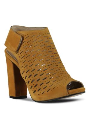 Marjin Viren Topuklu Ayakkabı Hardal Süet