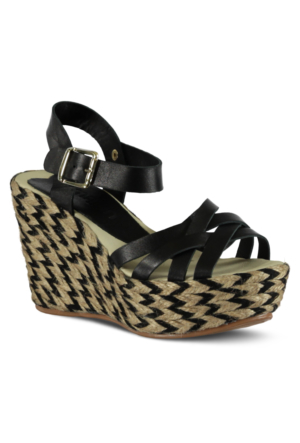 Marjin Persin Dolgu Topuk Deri Sandalet Siyah