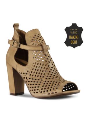 Marjin Valin Topuklu Ayakkabı Vizon