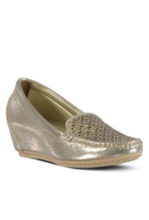 Marjin Tura Dolgu Ayakkabı Altın