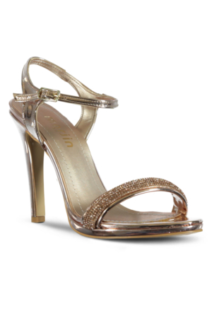 Marjin İcil Topuklu Abiye Ayakkabı Pudra Altın