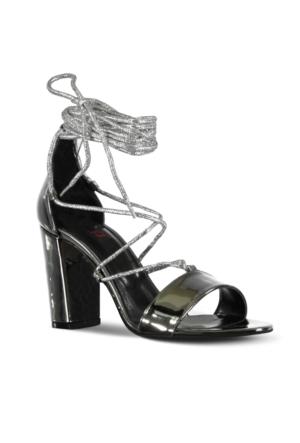 Marjin İppo Topuklu Abiye Ayakkabı Gümüş