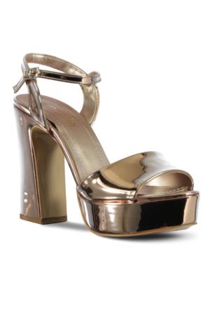 Marjin Seben Platfrom Topuklu Ayakkabı Pudra Altın
