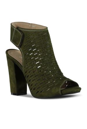 Marjin Viren Topuklu Ayakkabı Haki Süet