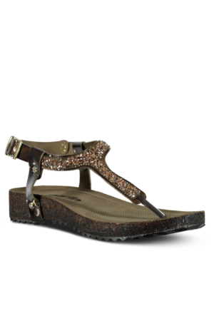 Marjin Malas Düz Sandalet Bronz